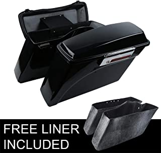 XFMT Vivid Black Hard Saddlebags +Lid Latch Key Compatible with Harley Street Electra Glide 1994-2013