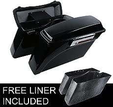 XFMT Vivid Black Hard Saddlebags +Lid Latch Key Compatible with Harley Street Electra Glide 1994-2013