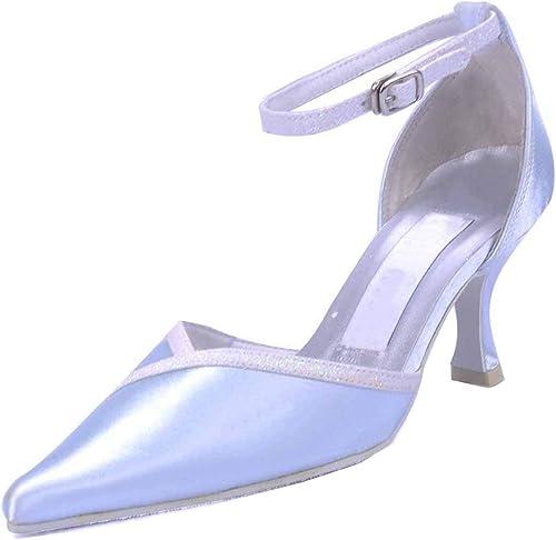 Hhoro GYMZ695 mujeres Ankel Correa Fiesta de Noche de Satén Plateado zapatos de Boda Nupciales Bombas Sandalias Flatfs Reino Unido 7.5 (Color   -, tamaño   -)