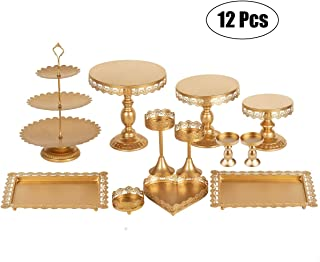 Set of 12 Pieces Golden Cake Stand and Pastry Trays Metal Cupcake Holder Fruits Dessert Display Plate for Baby Shower Wedding Birthday Party Celebration