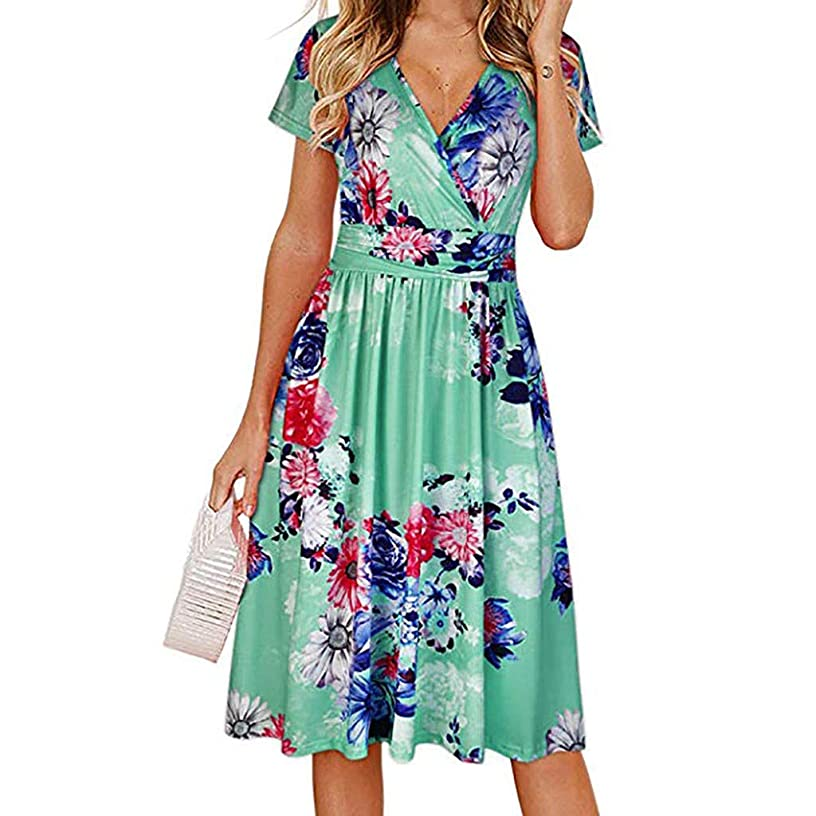 Women's Summer Wrap V Neck Floral Print Ruffle Swing A Line Beach Cocktail Wedding Party Dress