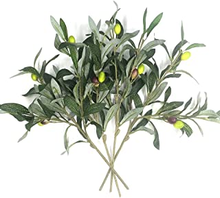 Artificial Olive Plants Branches Fake Fruits Silk Plants Branch Leaves ndoor Outside Home Garden Office Verandah Decor (4 ...