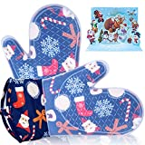 Bobalaly Silicone Oven Mitts and Pot Holders Set 500 F Heat Resistant Oven Gloves Flexible for...