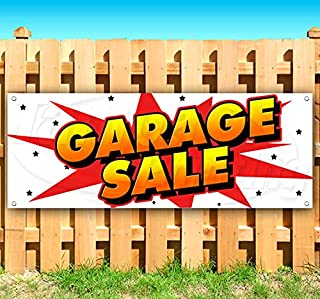 Garage Sale 13 oz Heavy Duty Vinyl Banner Sign with Metal Grommets, New, Store, Advertising, Flag, (Many Sizes Available)