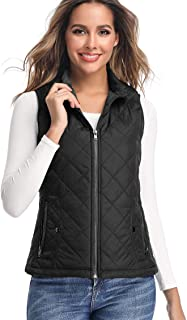 LK Women's Padded Vest, Stand Collar Lightweight Zip...