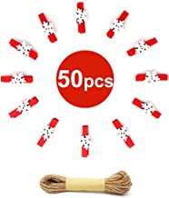 50PCS Christmas Wooden Clothespins, Mini Snowflake Photo Clips, Mini Wooden Pegs with 10 Meters Jute Twine for Hanging Chr...