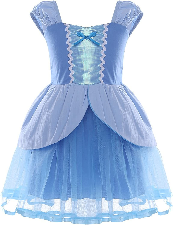Agoky Kids Girls Cinderella Rapunzel Mermaid Dress Costume for Birthday Halloween Cosplay Party