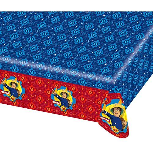 Amscan 9902178 - Tischdecke Feuerwehrmann Sam, 1 Stück, Größe 120 x 180 cm, Kunststoff, wasserabweisend, Blau mit mehrfarbigen Motiven, Pontypandy, Kinderparty, Geburtstag, Mottoparty, Karneval