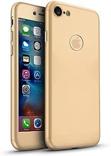 6fd56c0fb5f 3 Piezas Híbrida 360 Grado 3 en 1 Delantera y Trasera a Prueba de Golpes  Carcasa con Protector de Cristal Templado para Apple iPhone 6 6s 7 7 Plus  Dorado ...