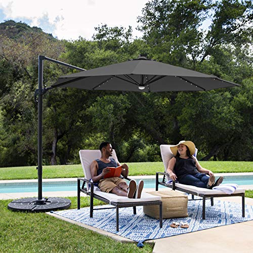 Best Choice Products 10ft Solar LED 360 Degree Rotating Cantilever Offset Patio Umbrella w/Easy Tilt - Gray