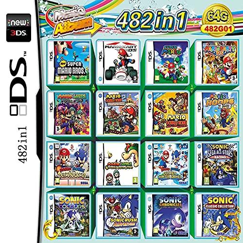 Juego 482 en 1 Cartucho de Juegos NDS Paquete de Juegos DS DS NDS NDSL NDSi 3DS 2DS XL Nuevo