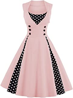 5fbcd37142c Babyonlinedress Robe de Soirée Bal Courte Rétro Vintage Impression année  1950 Style Audrey Hepburn Rockabilly