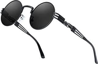 AMZSPORT - Gafas de Sol Redondas Polarizadas para Hombre, Mujer y Estilo Retro Steampunk con Protección Uv