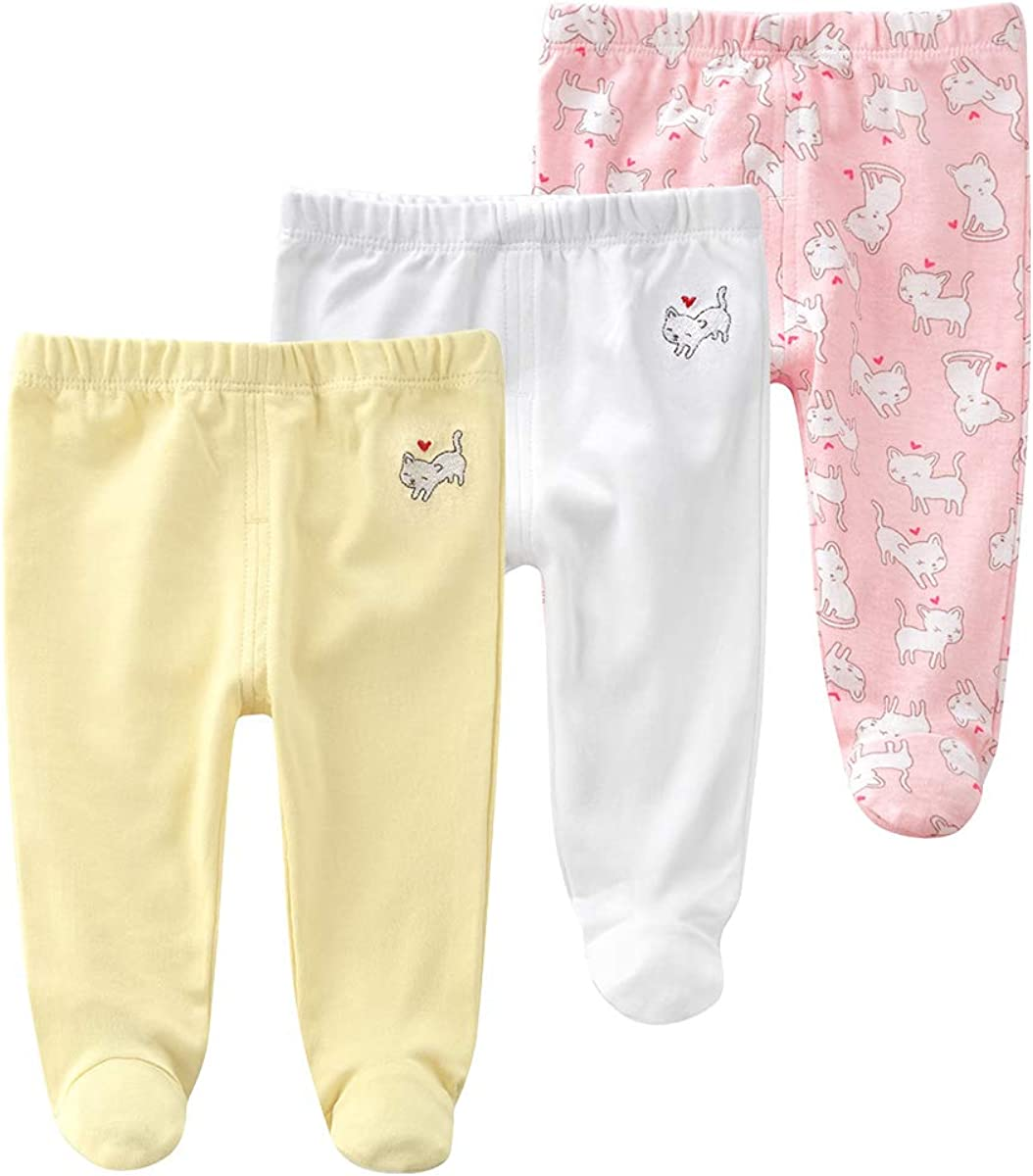QGAKAGO Newborn to Toddler Baby 3 Pack Cotton Embroidery Pringting Casual Leggings Pull On Footed Pants 0-12 Months