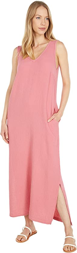 Double Layer Gause  V-Neck Maxi Dress