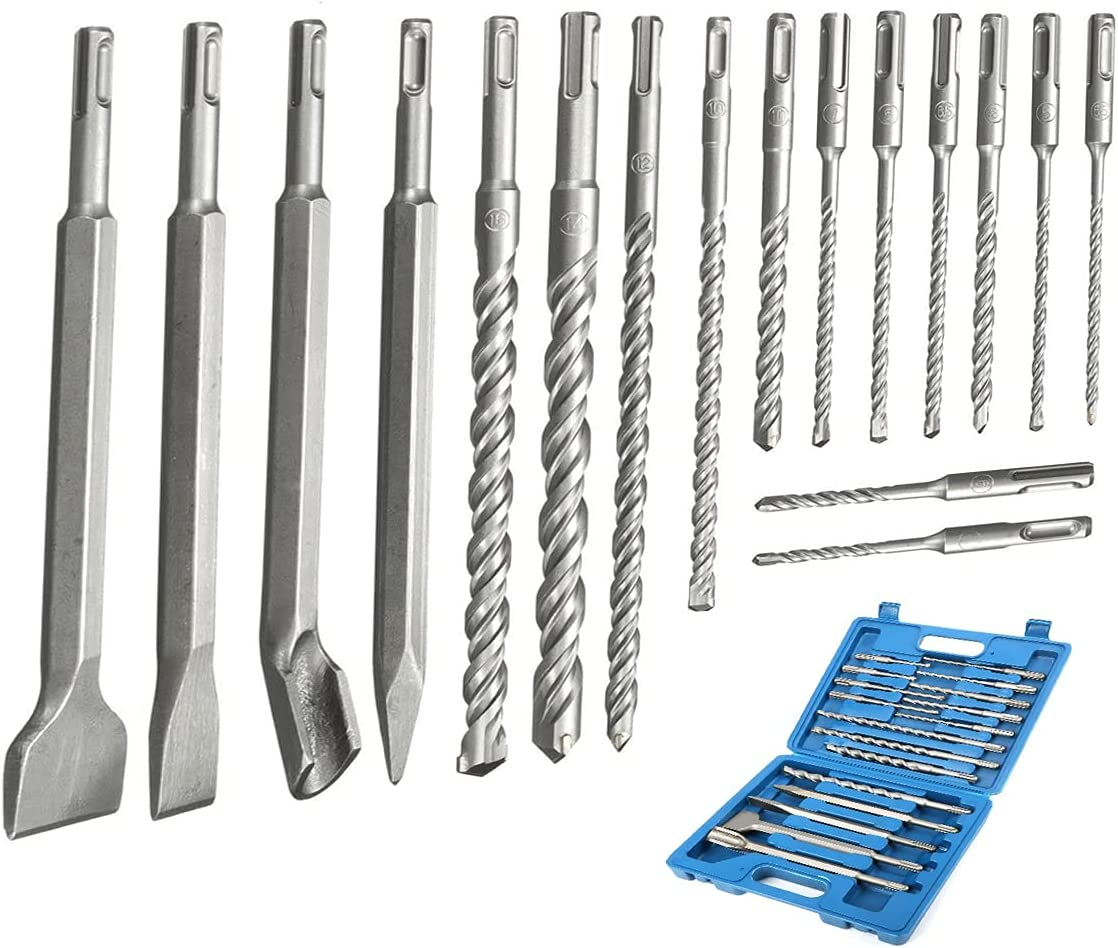 17Pcs Drill bit set Rotary Hammer Plus SDS Indianapolis Mall Dri Chisels Concrete Opening large release sale