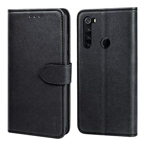 TesRank Cover Xiaomi Redmi Note 8 2019 & 2021, Flip Caso in Pelle Premium Portafoglio Custodia a Libro per Xiaomi Redmi Note 8 2019 & 2021- Flip Magnetica con Funzione di appoggio-Nero
