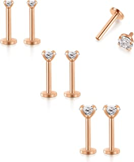 Cartilage Earring Forward Helix Earrings Internal Threaded Lip Rings Stud Medusa Monroe Piercing Jewelry Rose Gold 16G