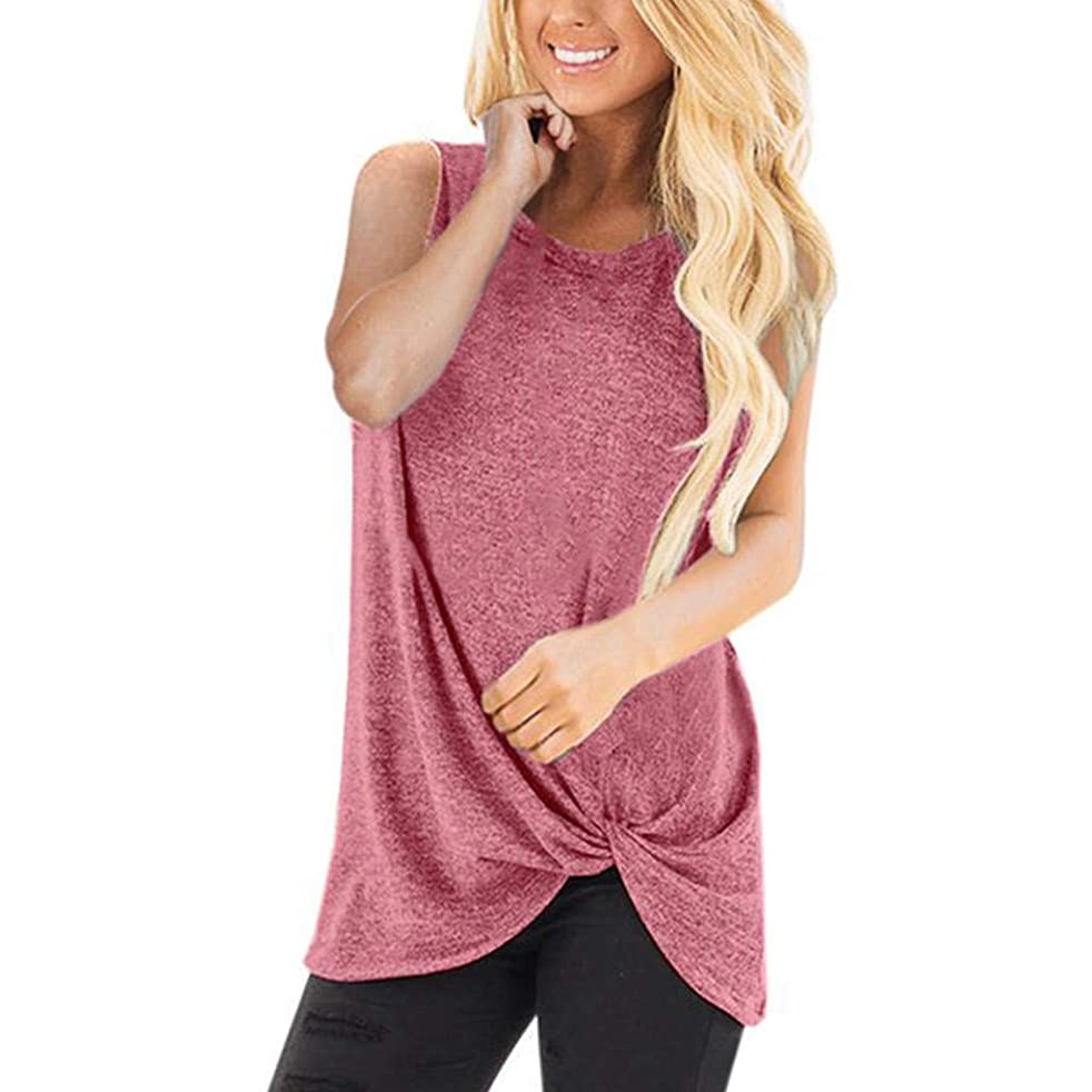 TWGONE Tunic Shirts for Women to Wear with Leggings Short Sleeve Loose Sleeveless O-Neck T-Shirt Blouse Tops