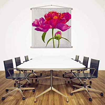 ArtzFolio Red Peony Flower Canvas Fabric Painting Tapestry Scroll Art Hanging 30inch x 27inch (76.2cms x 68.6cms)