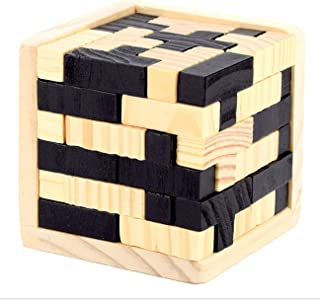 Shonye 3D Brain Teaser Wooden Puzzles Game for Party and Bar. Genius Skills Builder T-Shape Pieces with Tetris Fit 54pcs Kongming Luban Jigsaw Lock
