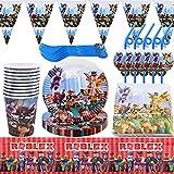 62Pcs Roblox Fournitures Fête - simyron Ensemble Vaisselle Fête, Roblox Vaisselle Includes Banners, Plates, Mugs, Napkins, Spoon, Forks Roblox Party Supplies