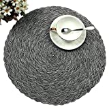 Topotdor Round Placemats Heat-Resistant Stain Resistant Anti-Skid Washable Polyproplene Table Mats Placemats (Braided-Gray, Set of 4)
