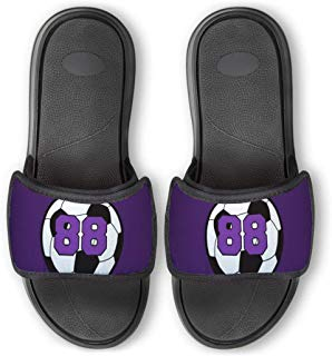 Personalized Soccer Repwell Slide Sandals | Soccer Ball Number | Purple | M9