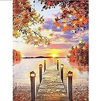 色による写真橋の風景画数字によるDIYダイヤモンド絵画日没の風景着色キャンバス絵画 フルダイヤモンド-50x60cm
