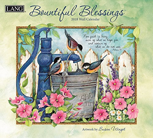 """LANG - 2018 Wall Calendar -""""Bountiful Blessings"""", Artwork by Susan Winget - 12 Month - Open 13 3/8"""" X 24"""""""