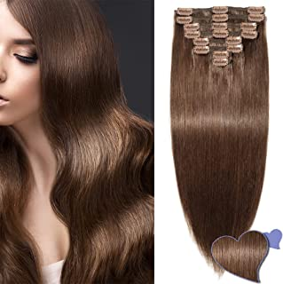 Double Weft Clip in Hair Extension Human Hair Real Remy Hair Full Head Thick Straight (8 Pcs, 4 Medium Brown, 12Inches, 115g)