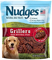 Nudges is the No. 1 natural dog treat!* USA Beef is the #1 ingredient All natural ingredients No artificial flavors. No artificial preservatives. No animal by-products. Made in the USA