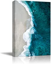 NWT Canvas Wall Art White Sand Beach Wave Ocean Water Painting Artwork for Home Prints Framed - 32x48 inches