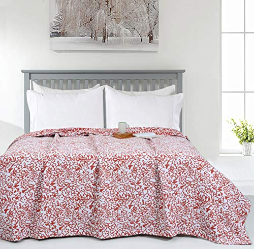 Coral Orange Matelassé Floral Throw Blanket - King (90 x 108 inches)