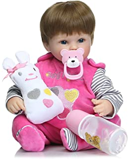bromrefulgenc Reborn Baby Doll,Lifelike Realistic Newborn Baby,40cm Soft Silicone Cute Baby Girl Newborn Lifelike Reborn Doll Gift Kids Toy - Pink