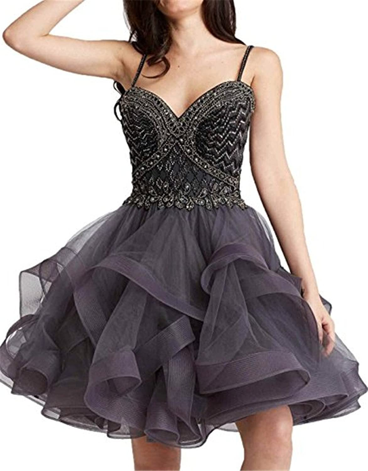 Chenghouse Short Prom Dresses Spaghetti Straps Homecoming Party Gowns