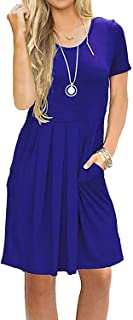 AUSELILY Women's Short Sleeve Pleated Loose Swing Casual Dress with Pockets Knee Length (XS, 01A-Royal Blue)