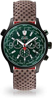 DETOMASO AURINO Racing Mens Watch Chronograph Analogue Quartz Dark Grey Leather Strap Green dial DT1061-N-846