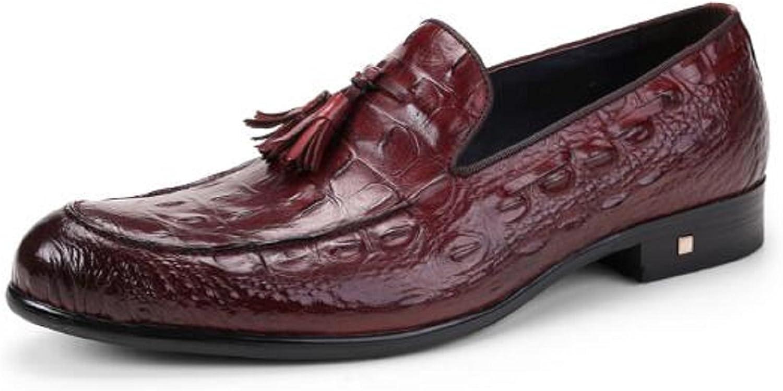 HAPPYSHOP(TM British Style Men's Croco Leather Tassel Oxfords Derbies Slip-on Dress Shoes (40 M EU, Wine Red)