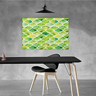 Xlcsomf Colorful Oil Painting Watercolor Business Gift Moroccan Trellis Pattern in Green Tones Watercolor Vintage Artwork W35 x L31 Lime Green Yellow White