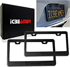 ICBEAMER License Plate Frame w/Carbon Fiber Surface & Black ABS Waterproof Plastic Universal Fit for Auto Truck [2 pcs]