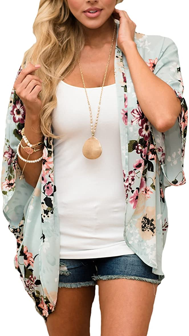 PRETTODAY Women's Summer Floral Print Kimonos Loose Half Sleeve Chiffon Cardigan Blouses Casual Cover Up