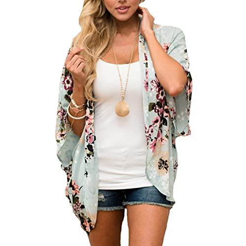 PRETTODAY Women s Floral Print Kimonos Loose Half Sleeve Shawl Chiffon  Cardigan Blouses Casual Beach Cover Ups 7a3b2ee3f