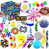 Fidget Toys Set, 36 Pack Sensory Tools Bundle for Stress Relief Hand Toys for Kids and Adults, Stretchy String/Liquid Motion/Cube/Twist Puzzle/Mesh Marble - Perfect for ADHD ADD Anxiety Autism