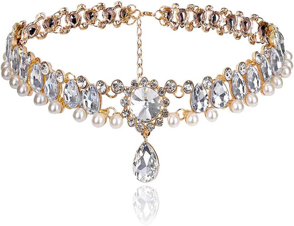 ETHOON Crystal Choker Gorgeous Elegant Party Necklace Decoration for Women Girls