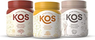 KOS Mental Performance Bundle, Organic Red Reishi Powder (50 Servings) + Organic Cordyceps Powder (70 Servings) + Organic ...