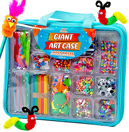 Giant Art Case Set of 1600+ Pc.– Arts and Crafts Supplies for Kids 6+ – DIY Projects Case Filled with Pom Pom Box Craft Kit, Beads, Buttons, Scissors, and Pipe Cleaners for Kids by Art with Smile