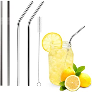 Stainless Steel Straws Extra Long Stainless Steel Drinking Straws Set of 4, Straws for 30 oz Tumbler and 20 0z Tumbler, Fi...