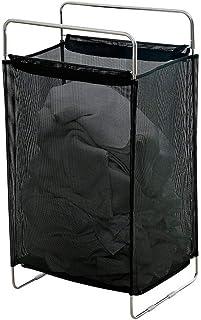 HEPAN らんどりーばすけっと 大容量 北欧 約幅39.3×奥行27×高さ70cm スリムランドリーバスケット 通気性メッシュ ステンレス 衣類収納バスケット 家庭用洗濯バケツ服(黒)