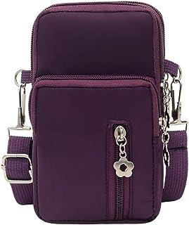 Fiudx Waterproof Nylon Zipper Outdoor Sports Arm Bag Phone Bag,Printing Shoulder Bag,Mini Wrist Purse Cross Body Bag,Women Crossbody Cell Phone Purse for Shopping, Sports Phone Holder Bag (M)